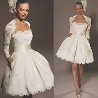 New Short White/ivory wedding dress Bridal Gown Stock size 6 8 10 12 14 16 18