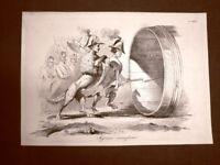 Incisione d'allegoria e satira Ingresso in Parma e Modena Don Pirlone 1851
