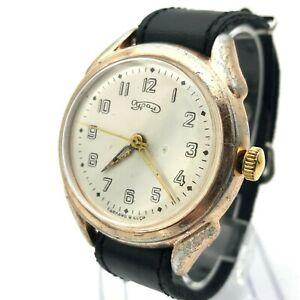 Retro Wristwatch MOLNIJA Ural Rare Big Dial USSR Pink Gold Case Men Collectible