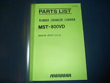 MOROOKA MST-800VD RUBBER CRAWLER CARRIER PARTS BOOK MANUAL S/N 80001-UP