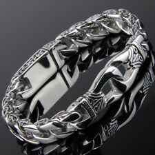 """Mens Bracelet Silver Stainless Steel Chain Classic Hip Hop Jewelry 11mm8.66"""""""