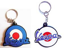 New 2 rubber Vespa Logo Motorcycle keychain/keyring. Collectible Gift