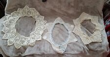 Vintage Ecru beige Crochetted Lacey Collars lot of 3