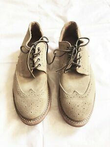 WALK OVER BEIGE LACE UP LEATHER SUEDE WINGTIP SHOES SIZE: 10