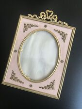 Antique 1880 French Dore Bronze Frame With Bow, Mounts  Applique Pink Moire Silk