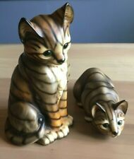 2 Vintage Large Ceramic Cat Kitten Figurines *Super Cute*
