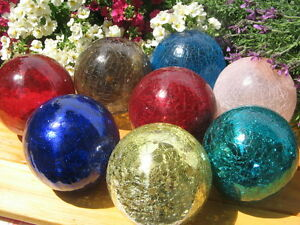 Große Frostsicher Dekokugel Garten Glaskugel Lightball Craque 12cm Glas Kugel
