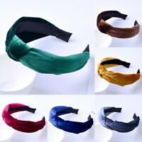 Girls Headband Twist Hairband Bow Knot Cross Tie Velvet Headwrap Hair-Band WL