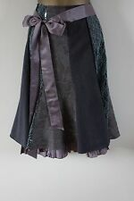 Siguiente Talla 14 Falda Tweed De Encaje Con Lentejuelas Púrpura Lila Verde a Medida Gótico Boho 12