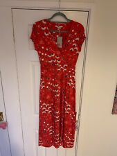 BNWT Boden Red Pattern Short Sleeve Midi Dress (UK Size 10R) NEW LOVELY