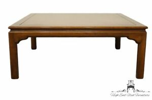 """ETHAN ALLEN Traditional Style Bookmatched Walnut 40"""" Square Accent Coffee Table"""