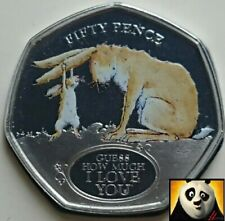 2020 GIBRALTAR 50p Fifty Pence Guess How Much I Love You Rabbit Coloured Coin