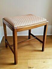 Vintage Solid Oak Wood Dusk Pink Vanity Dressing Table Wooden Stool Piano Stool