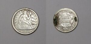 1857 SEATED LIBERTY SILVER DIME LOVE TOKEN #470-10