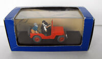 TINTIN SNOWY car Atlas Diecast Red Willy's Jeep #7 MINT in box FRANCE 2002