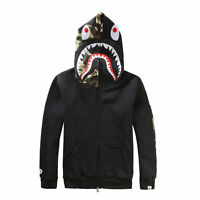 Bape A Bathing ape Jacket SHARK Head Camo FULL ZIP HOODIE Sweater Coat Clothes @