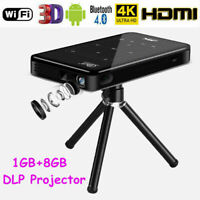 4K Smart DLP Mini Projector Android6.0 WiFi Bluetooth 1080P 8G Home Theater HDMI