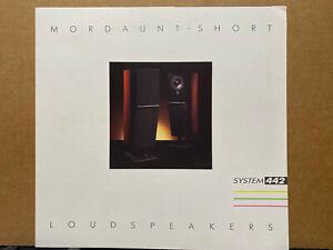 Vtg Mordaunt-Short Loudspeaker Brochure ~ System 442 Speakers