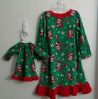 Toddler Girl's Green Fleece Santa Nightgown with Doll Night Gown NWT Size 2T