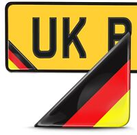 2 x 3D Domed Germany Flag Number Plate Laptop Phone Helmet Bike Case Stickers