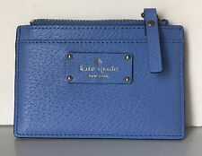 Kate Spade Adi Grove Street Leather Card Case / Holder Coin pocket Alice Blue