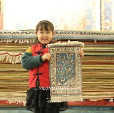 Yilong 1'x1.5' 400Lines High Density Handknotted Silk Carpet Birds Tapestry 224H
