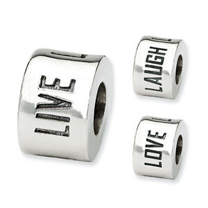 Live Laugh Love Spacer Bead .925 Sterling Silver Antique Finish Reflection Beads