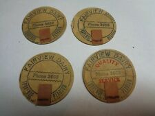 Vintage Fairview Dairy Milk Bottle Caps Lot of 4  Torrence Pearson N.C. 22#