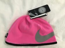 NEW Nike Girl's Pink Pow Gray Black Reflective Therma Fit Beanie Hat Size 7 - 16
