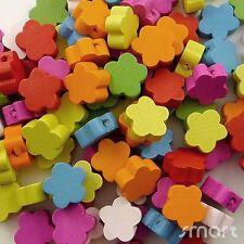 100pcs Mixed Colors Flower Shape Wood Beads Lot Craft/Kids Jewelry Making 12MM