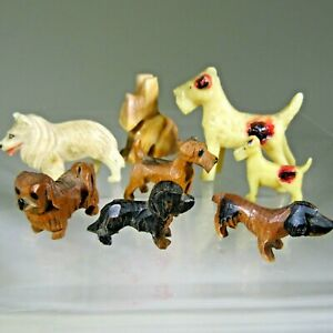 miniature vintage DOGS animals LOT dollhouse doll house figurines wood terriers