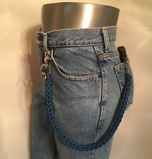 Black and Blue 3 Pin Weave 550 USA Made Paracord Harley Biker Wallet Chain 1%