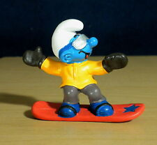 Smurfs 20452 Snowboarder Smurf Snowboarding Vintage Figure Rare PVC Toy Figurine