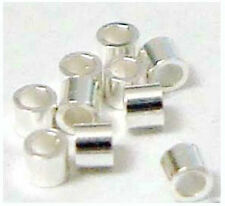500 Sterling Silver Mini Micro CRIMP BEAD tubes tiny 1mm bright 925 spacer  F34