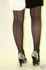 Black Gloss Tights With Silver Seam 10 Denier