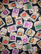 GARDEN FLOWER SEED PACKETS COTTON FABRIC FQ OOP