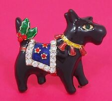 Scottish Terrier Holiday Pin Rhinestone Crystal / Enamel / Gold Plated
