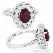 Right-Hand Cocktail Ring in 18k White Gold 2.54 ct Oval Cut Ruby & Diamond Pave
