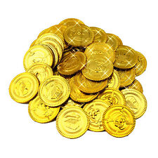 100Pcs Plastic Gold Treasure Coin Captain Pirate Coin Baby Kids Props Decoration