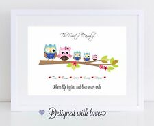 Personalised Owl Family Print Gift Birthday, Anniversary, Cute Gift!