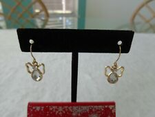 CRYSTAL ANGEL DANGLE EARRINGS FOR PIERCED EARS W/ GOLD TONE EAR WIRES