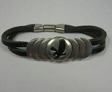 atterraggio Desert Eagle PELTRO Nero, in pelle braccialetto magnetico moda