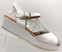 Sesto Meucci White Leather Slingback Casual Sandals Shoes Women's 8 M