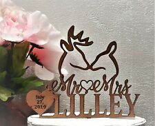 Personalized Rustic Wedding Cake Topper, Buck and doe Anniversary Topper