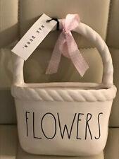 """New Rae Dunn White"""" Flowers"""" Wall Planter Flower Pot"""