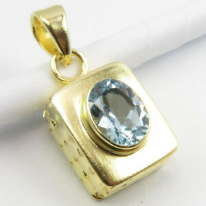 Gold Flashed BLUE TOPAZ Pendant 925 Sterling Silver Women New Jewellery
