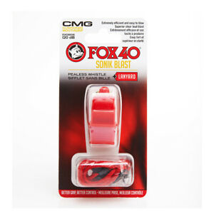 Fox 40 Sonik Blast CMG Whistle with Lanyard Referee-Coach Safety Red 9203-0108