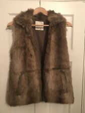 Brand New - Pull And Bear Brown Fur Gilet Sleeveless Jacket - Size 8