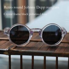442b00edb6 Acetato de Soild Redondo Johnny Depp Gafas de sol polarizadas lentes de  cristal negro