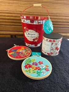 """PIONEER WOMAN 4 PC. SET """"Grown With Love"""" Tin Pail CANISTER BLESS THIS MESS ART"""